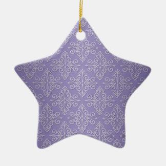 Motif pourpre de damassé de lavande ornement étoile en céramique