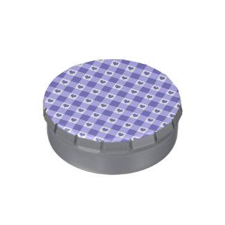 Motif pourpre et blanc de coeurs de contrôle de boite jelly belly