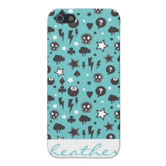 Motif punk Girly turquoise Étuis iPhone 5