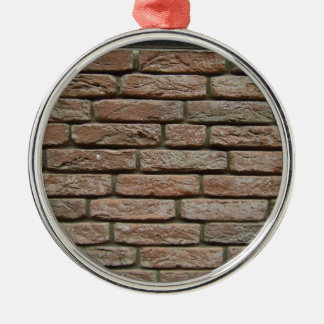 Motif réaliste de brique rouge ornement rond argenté