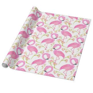 Motif rose de flamant papier cadeau