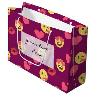 Motif rose doux mignon de baiser de coeurs d'amour grand sac cadeau