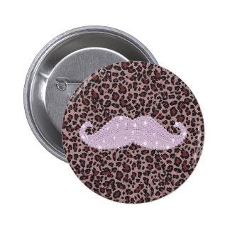 Motif rose drôle de moustache et de poster de anim badge rond 5 cm