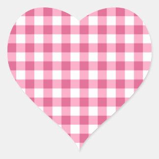 Motif rose et blanc de contrôle de guingan sticker cœur