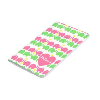Motif rose et vert d'éléphant avec le nom carnet de poche