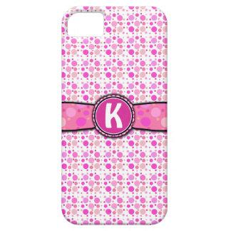 Motif rose Girly de monogramme de point de polka Coques Case-Mate iPhone 5