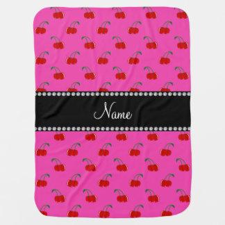 Motif rose nommé personnalisé de cerise couverture pour bébé