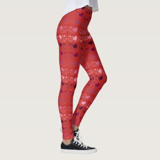 Motif rouge de coeur de passion leggings
