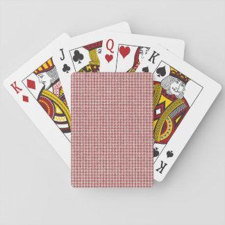 Motif rouge de pied-de-poule cartes à jouer