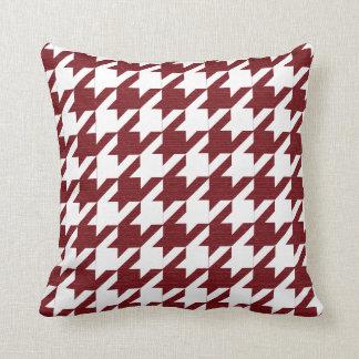 Motif rouge foncé et blanc de pied-de-poule oreiller