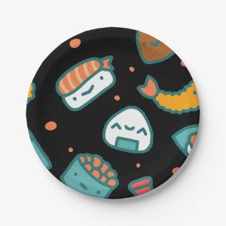 Motif sans couture heureux mignon de sushi sur le assiettes en papier