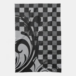 Motif tourbillonnant Checkered | gris et noir Linge De Cuisine