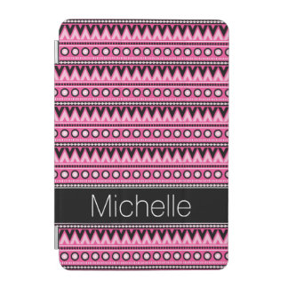 Motif tribal aztèque moderne blanc noir rose protection iPad mini