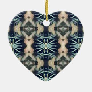 Motif tribal crème bleu artistique moderne ornement cœur en céramique