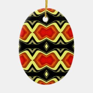 Motif tribal d'automne de noir de jaune orange ornement ovale en céramique