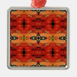 Motif tribal de jaune orange d'automne de riches ornement carré argenté