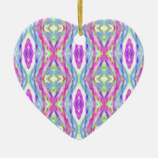 Motif tribal en pastel de ressort Girly vibrant Ornement Cœur En Céramique
