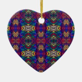 Motif tribal pourpre de riches de bleus profonds ornement cœur en céramique