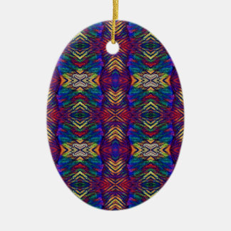Motif tribal pourpre de riches de bleus profonds ornement ovale en céramique