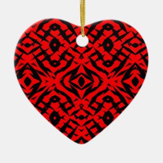 Motif tribal rouge de formes ornement cœur en céramique