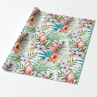 Motif tropical de jardin de nature de flamant papiers cadeaux noël