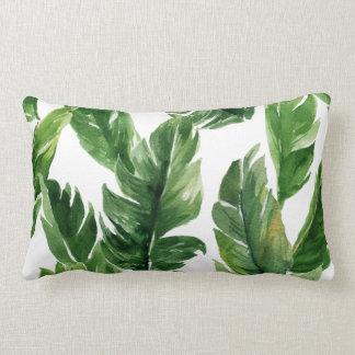 Motif tropical vert de feuille d'aquarelle coussin décoratif
