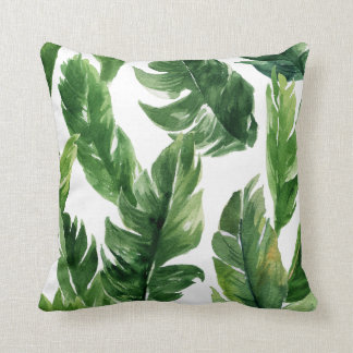 Motif tropical vert de feuille d'aquarelle coussins carrés