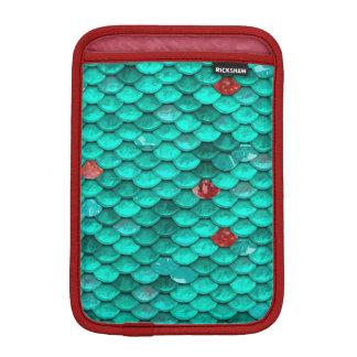 Motif turquoise d'échelles de miroitement et de housse iPad mini