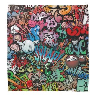 Motif urbain de caractères de graffiti d'art de foulard