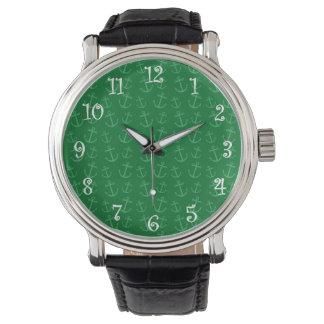Motif vert d'ancre montres bracelet