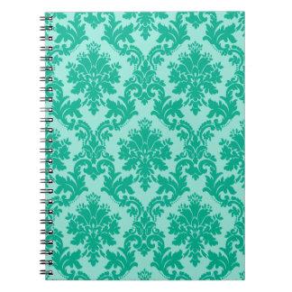 Motif vert de damassé carnets à spirale