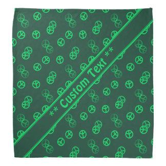 Motif vert de signe de paix avec le texte fait sur bandana