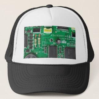 motif vert d'ordinateur de bord de circuit casquette
