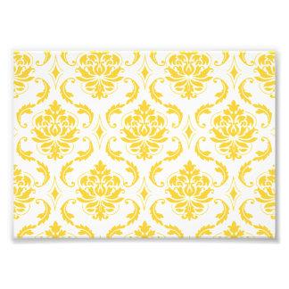 Motif vintage blanc jaune Girly de damassé Impressions Photo