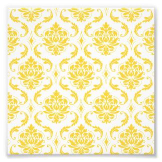 Motif vintage blanc jaune Girly de damassé Impressions Photographiques