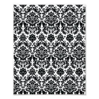 Motif vintage blanc noir élégant de damassé photographies