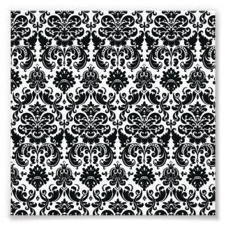 Motif vintage blanc noir élégant de damassé photos d'art