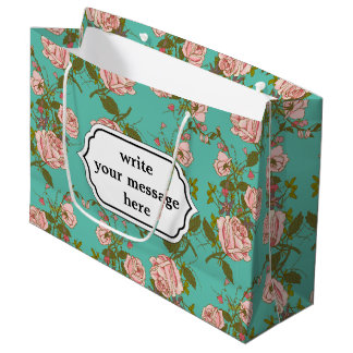 Motif vintage de vignes de rétro rose de menthe de grand sac cadeau