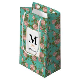 Motif vintage de vignes de rétro rose de menthe de petit sac cadeau
