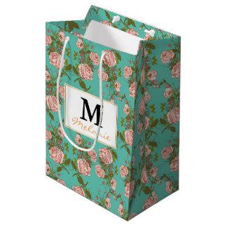 Motif vintage de vignes de rétro rose de menthe de sac cadeau moyen