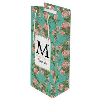 Motif vintage de vignes de rétro rose de menthe de sac cadeau pour bouteille