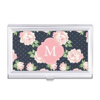 Motif vintage rose et bleu de roses décoré d'un porte-cartes de visite