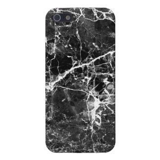 Motifs de marbre chics modernes blancs noirs de coque iPhone 5