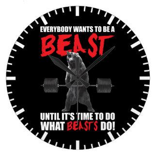 Motivation de gymnase de forme physique de séance grande horloge ronde