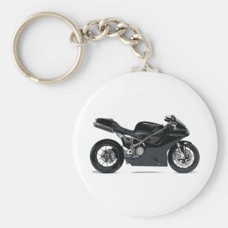 Moto noire rapide porte-clé rond