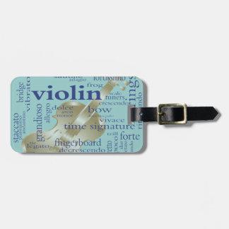 Mots de violon étiquette à bagage
