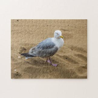 Mouette sur un puzzle de photo de plage