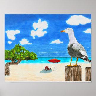 Mouette sur une plage ensoleillée sous l'affiche