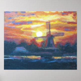 Moulin à vent de coucher du soleil de lever de