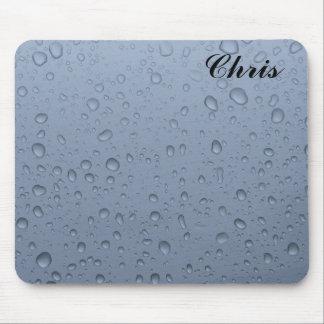 Mousepad de gouttes de pluie avec le nom tapis de souris